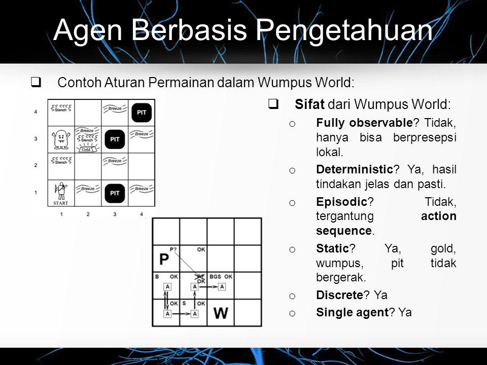 Agen Berbasis Pengetahuan  Contoh Aturan Permainan dalam Wumpus World:  Sifat dari Wumpus World: o Fully observable? Tidak, hanya bisa berpresepsi l
