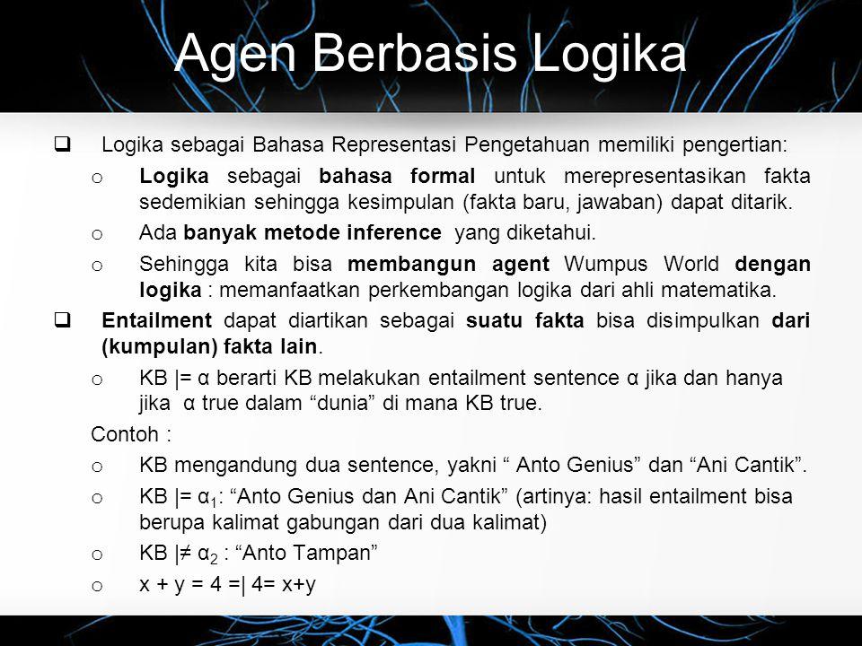 Agen Berbasis Logika  Logika sebagai Bahasa Representasi Pengetahuan memiliki pengertian: o Logika sebagai bahasa formal untuk merepresentasikan fakt