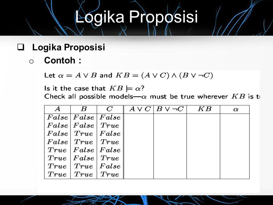 Logika Proposisi  Logika Proposisi o Contoh :