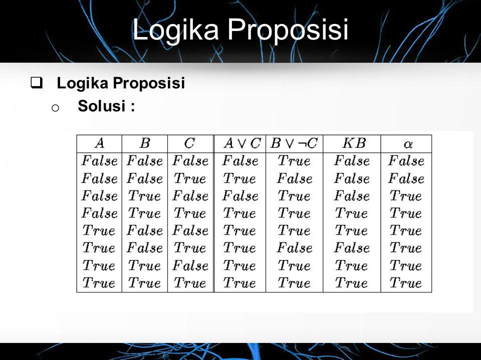 Logika Proposisi  Logika Proposisi o Solusi :