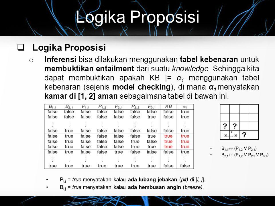 Logika Proposisi  Logika Proposisi o Inferensi bisa dilakukan menggunakan tabel kebenaran untuk membuktikan entailment dari suatu knowledge. Sehingga