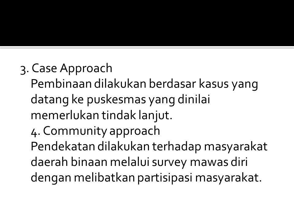 3. Case Approach Pembinaan dilakukan berdasar kasus yang datang ke puskesmas yang dinilai memerlukan tindak lanjut. 4. Community approach Pendekatan d