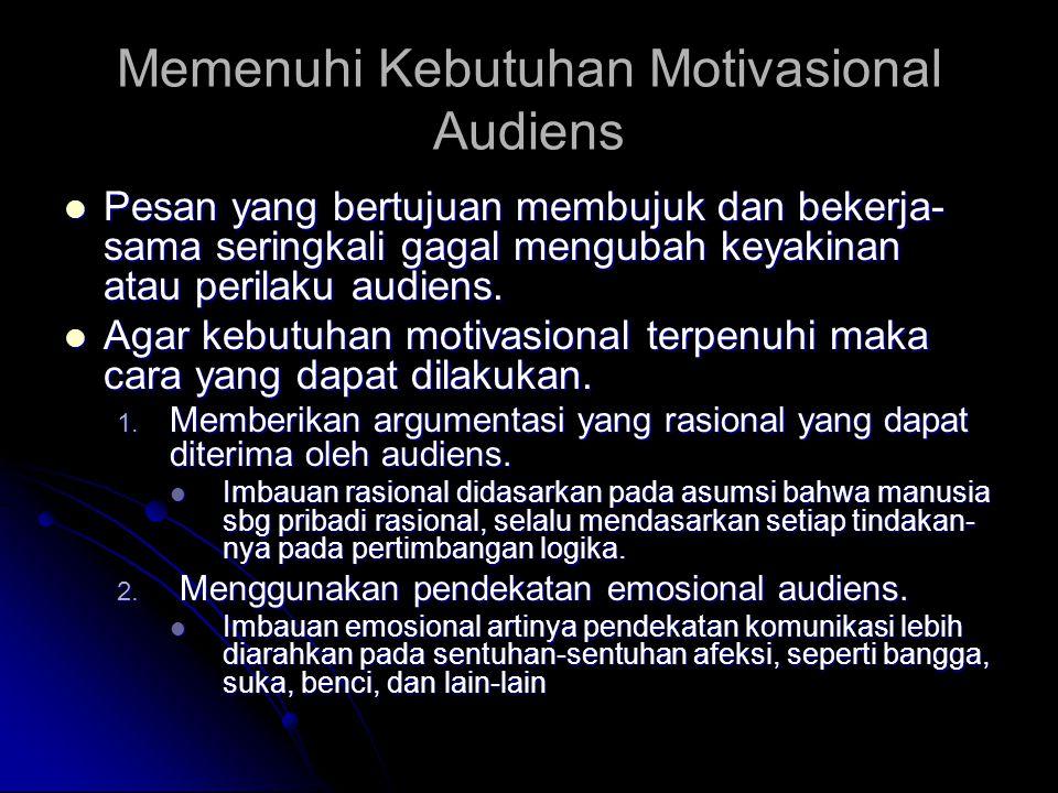 Memenuhi Kebutuhan Motivasional Audiens Pesan yang bertujuan membujuk dan bekerja- sama seringkali gagal mengubah keyakinan atau perilaku audiens. Pes