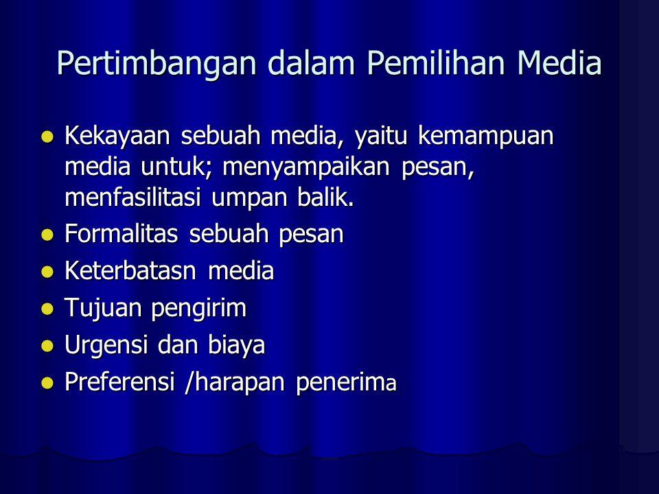Pertimbangan dalam Pemilihan Media Kekayaan sebuah media, yaitu kemampuan media untuk; menyampaikan pesan, menfasilitasi umpan balik. Kekayaan sebuah