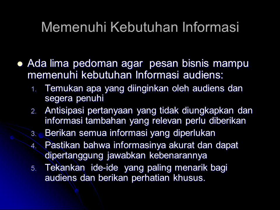 Memenuhi Kebutuhan Informasi Ada lima pedoman agar pesan bisnis mampu memenuhi kebutuhan Informasi audiens: Ada lima pedoman agar pesan bisnis mampu m