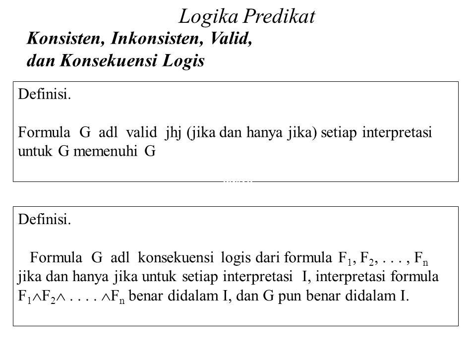 Definisi. Formula G adl valid jhj (jika dan hanya jika) setiap interpretasi untuk G memenuhi G Daliyo daliyo Logika Predikat Konsisten, Inkonsisten, V