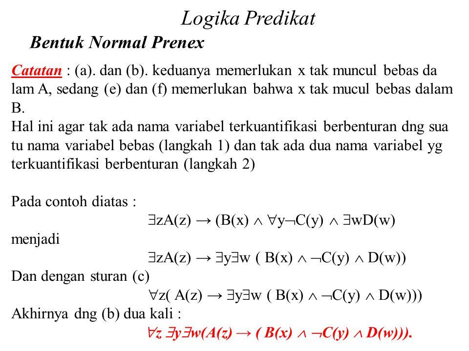 Daliyo Logika Predikat Bentuk Normal Prenex Daliyo Catatan : (a). dan (b). keduanya memerlukan x tak muncul bebas da lam A, sedang (e) dan (f) memerlu