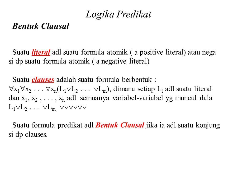 Daliyo Logika Predikat Bentuk Clausal Daliyo Suatu literal adl suatu formula atomik ( a positive literal) atau nega si dp suatu formula atomik ( a neg