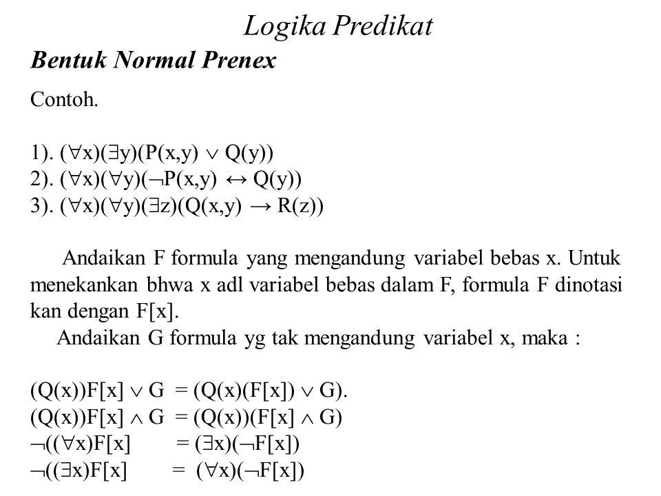 Daliyo Logika Predikat Bentuk Normal Prenex Daliyo Contoh. 1). (  x)(  y)(P(x,y)  Q(y)) 2). (  x)(  y)(  P(x,y) ↔ Q(y)) 3). (  x)(  y)(  z)(Q