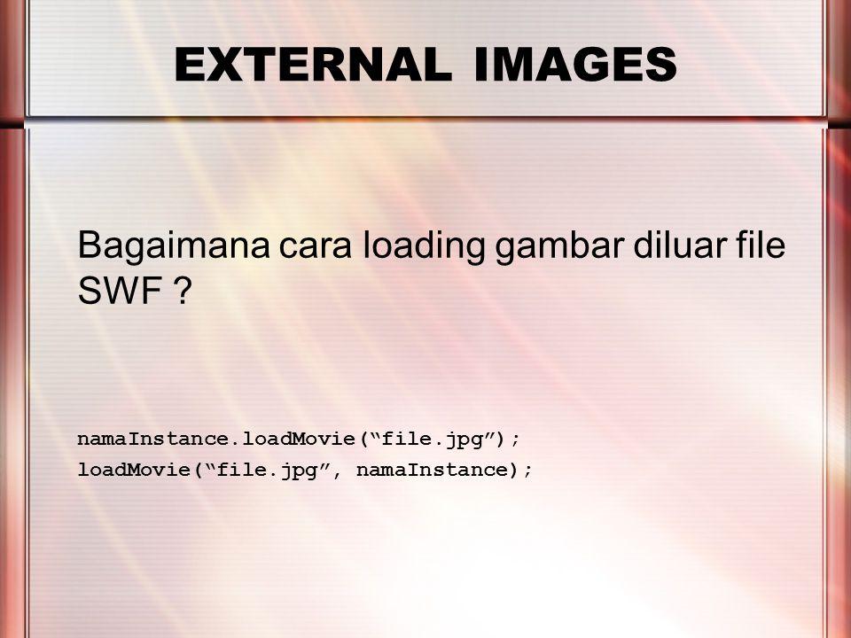 PERTEMUAN 2 EXTERNAL IMAGES Bagaimana cara loading gambar diluar file SWF .