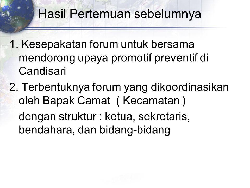 Hasil Pertemuan sebelumnya 1. Kesepakatan forum untuk bersama mendorong upaya promotif preventif di Candisari 2. Terbentuknya forum yang dikoordinasik