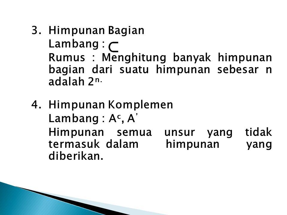 3.Himpunan Bagian Lambang : Rumus : Menghitung banyak himpunan bagian dari suatu himpunan sebesar n adalah 2 n. 4.Himpunan Komplemen Lambang : A c, A