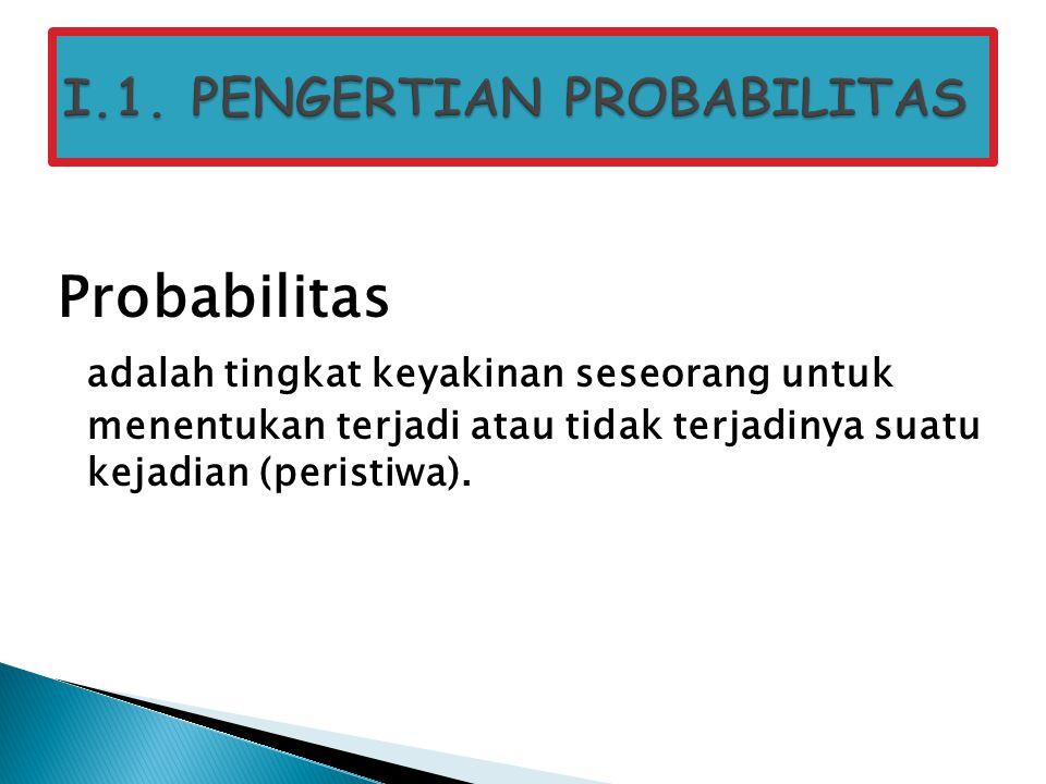 Probabilitas adalah tingkat keyakinan seseorang untuk menentukan terjadi atau tidak terjadinya suatu kejadian (peristiwa).