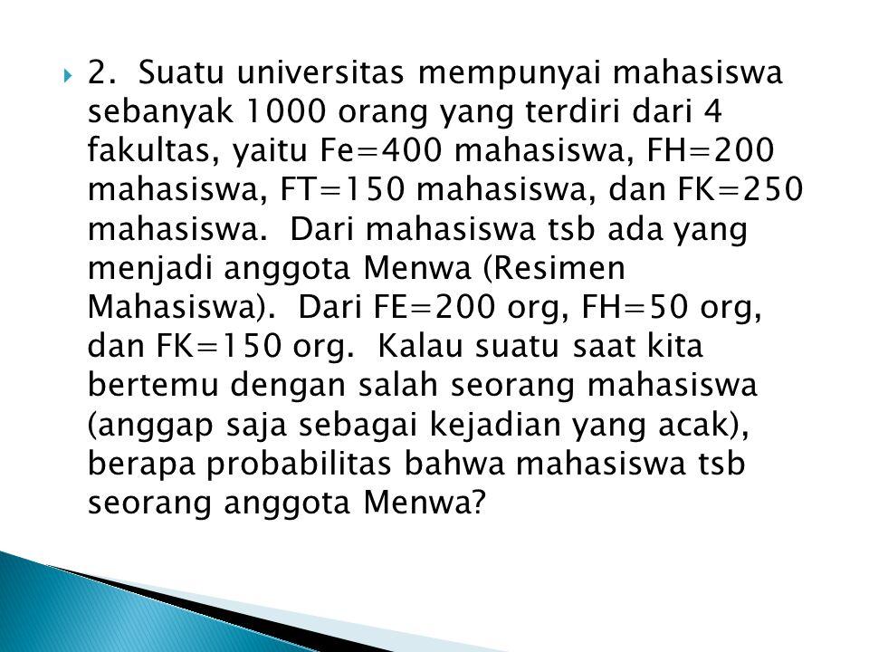  2. Suatu universitas mempunyai mahasiswa sebanyak 1000 orang yang terdiri dari 4 fakultas, yaitu Fe=400 mahasiswa, FH=200 mahasiswa, FT=150 mahasisw
