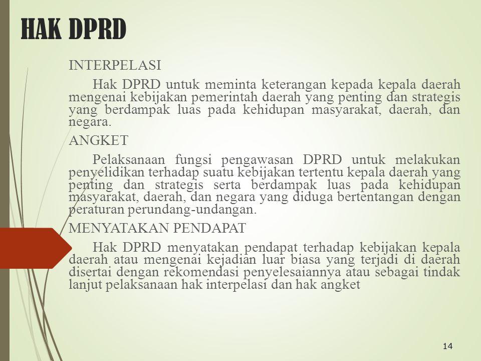 14 HAK DPRD INTERPELASI Hak DPRD untuk meminta keterangan kepada kepala daerah mengenai kebijakan pemerintah daerah yang penting dan strategis yang be
