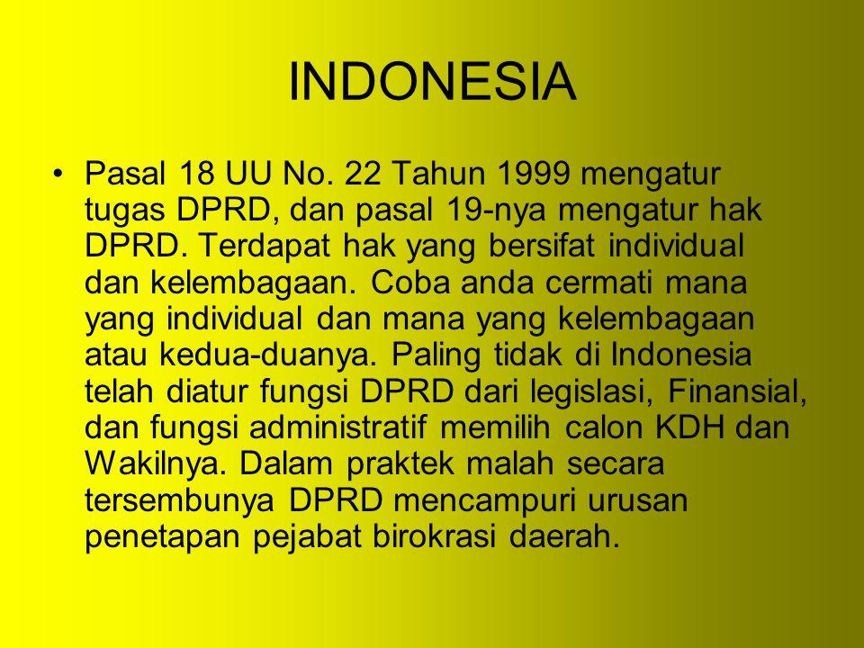 INDONESIA Pasal 18 UU No. 22 Tahun 1999 mengatur tugas DPRD, dan pasal 19-nya mengatur hak DPRD. Terdapat hak yang bersifat individual dan kelembagaan
