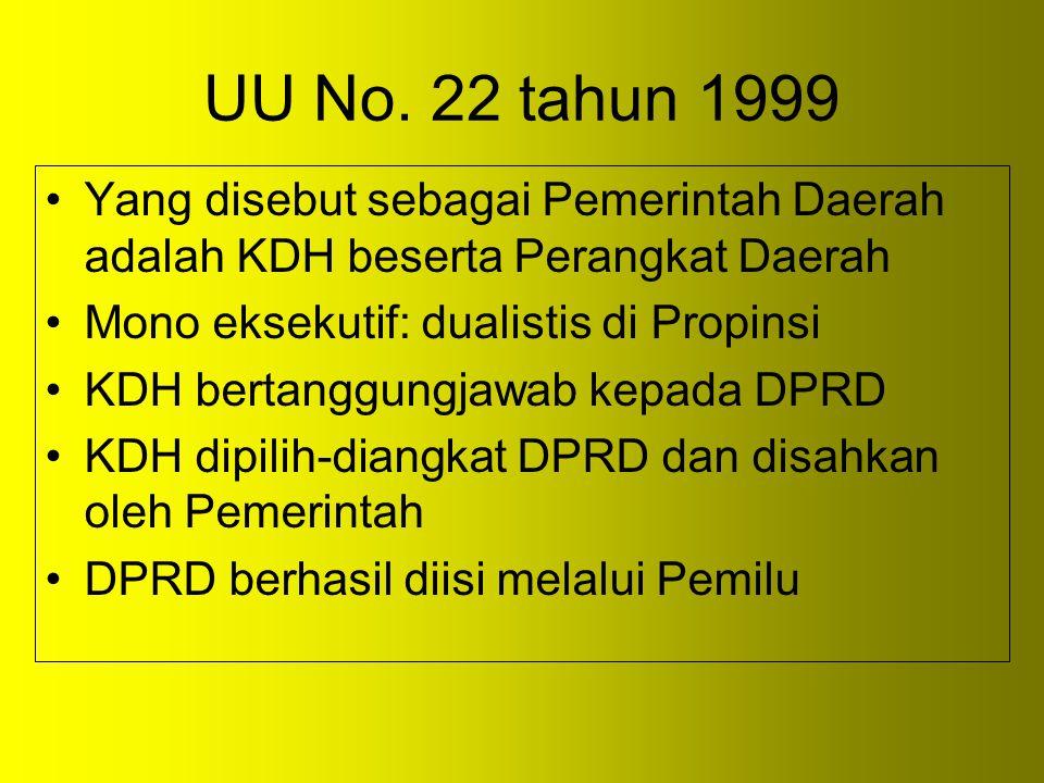 UU No. 22 tahun 1999 Yang disebut sebagai Pemerintah Daerah adalah KDH beserta Perangkat Daerah Mono eksekutif: dualistis di Propinsi KDH bertanggungj
