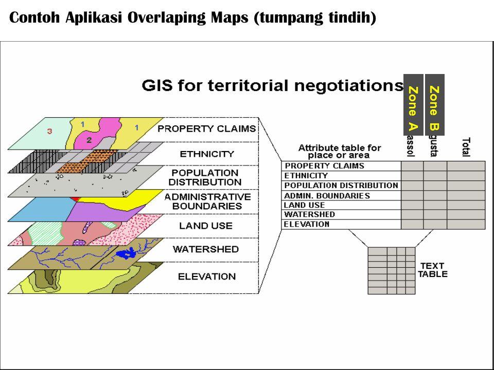Zone AZone B Contoh Aplikasi Overlaping Maps (tumpang tindih)