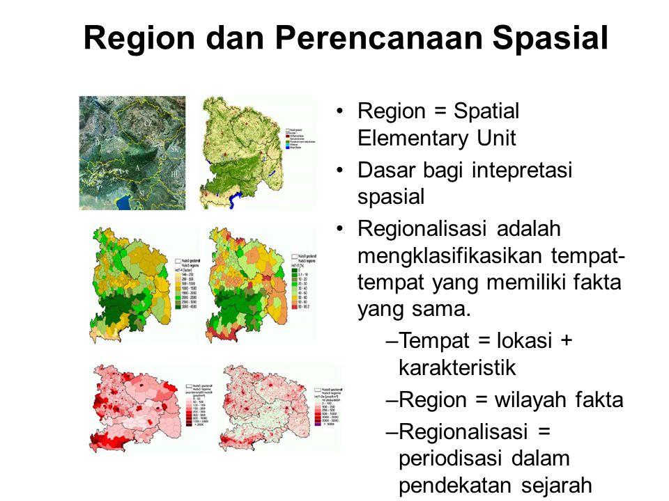 Region = Spatial Elementary Unit Dasar bagi intepretasi spasial Regionalisasi adalah mengklasifikasikan tempat- tempat yang memiliki fakta yang sama.