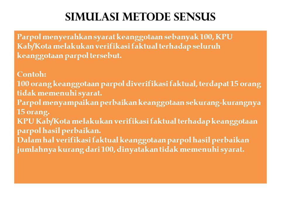 Simulasi METODE SENSUS Parpol menyerahkan syarat keanggotaan sebanyak 100, KPU Kab/Kota melakukan verifikasi faktual terhadap seluruh keanggotaan parp
