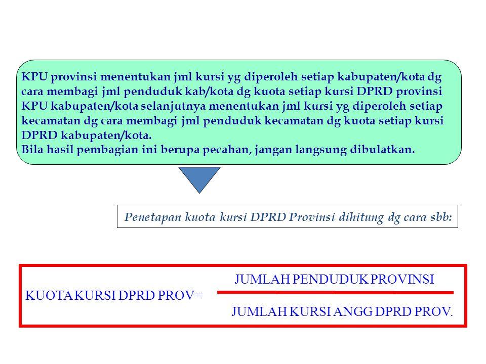 KPU provinsi menentukan jml kursi yg diperoleh setiap kabupaten/kota dg cara membagi jml penduduk kab/kota dg kuota setiap kursi DPRD provinsi KPU kab