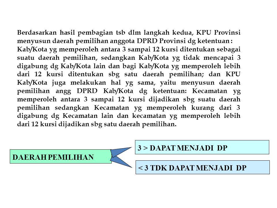 Berdasarkan hasil pembagian tsb dlm langkah kedua, KPU Provinsi menyusun daerah pemilihan anggota DPRD Provinsi dg ketentuan : Kab/Kota yg memperoleh