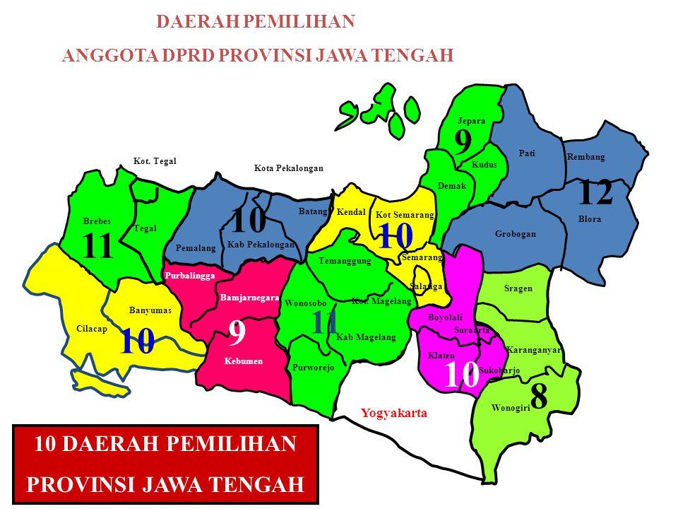 10 DAERAH PEMILIHAN PROVINSI JAWA TENGAH Yogyakarta Banyumas Cilacap 10 Kebumen Bamjarnegara Purbalingga 9 Purworejo Wonosobo Temanggung Kab Magelang Kot.