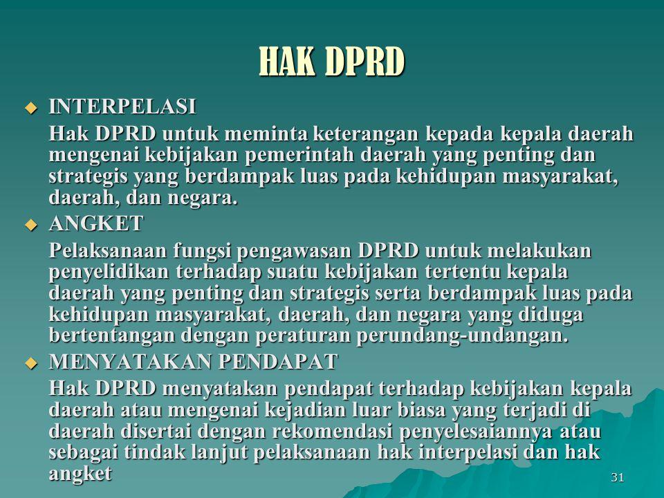 31 HAK DPRD  INTERPELASI Hak DPRD untuk meminta keterangan kepada kepala daerah mengenai kebijakan pemerintah daerah yang penting dan strategis yang