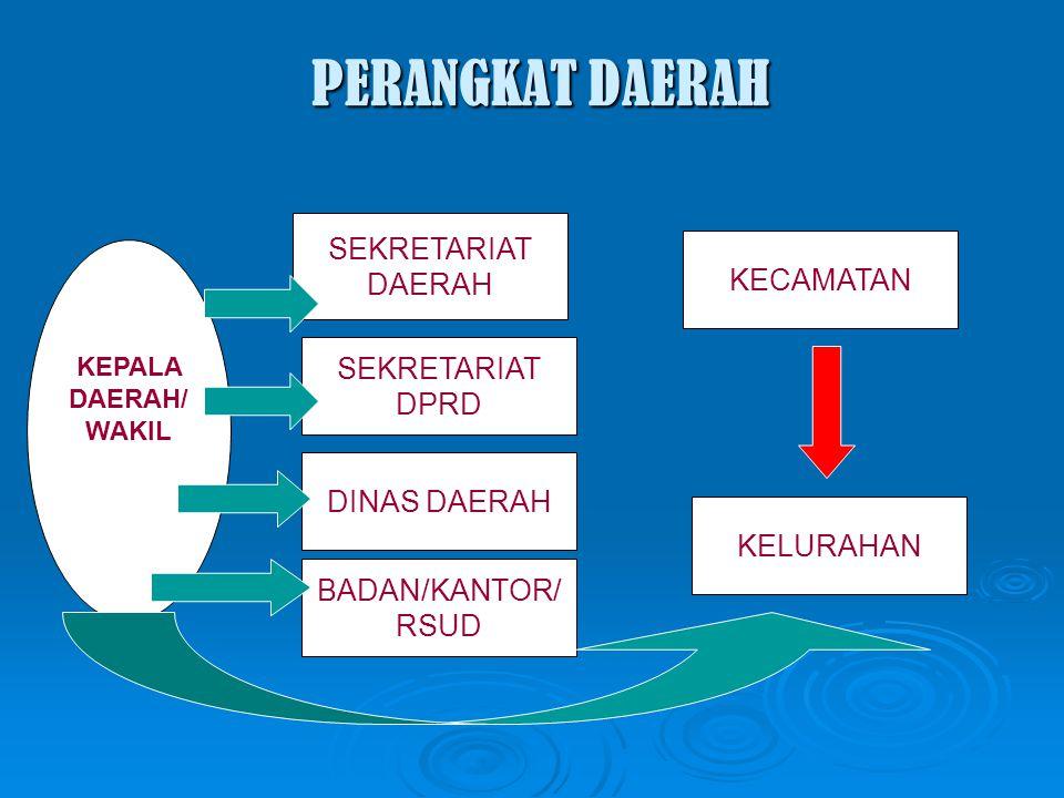 PERANGKAT DAERAH KEPALA DAERAH/ WAKIL SEKRETARIAT DAERAH SEKRETARIAT DPRD DINAS DAERAH BADAN/KANTOR/ RSUD KELURAHAN KECAMATAN