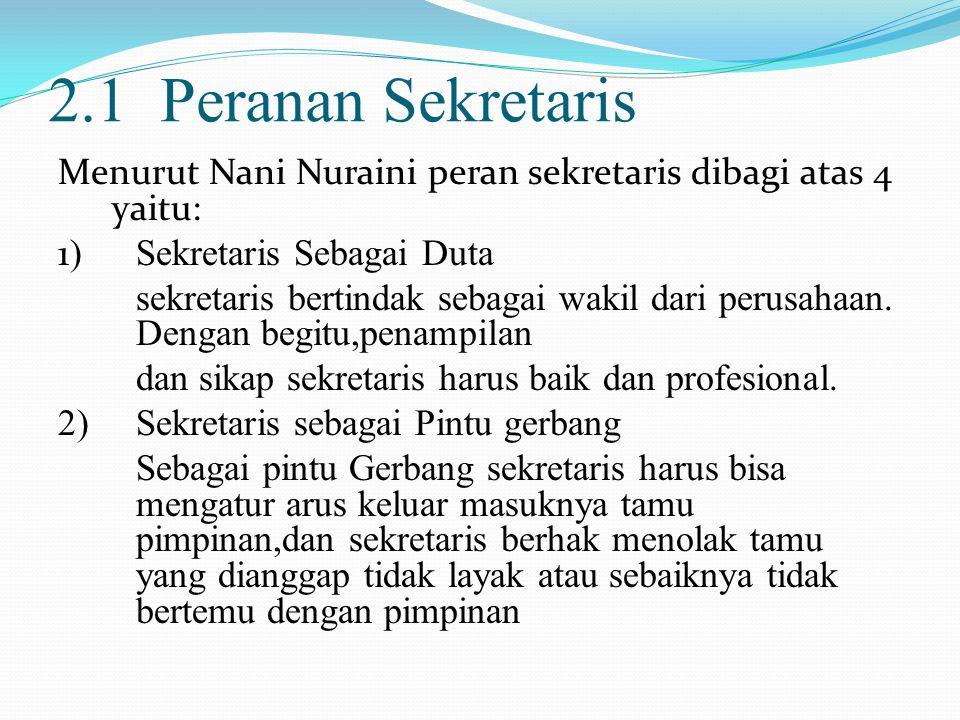 3) Sekretaris sebagai Ibu Rumah Tangga Perusahaan Seorang sekretaris harus dapat menaungi perusahaan dan menjadi contoh yang baik dalam mengurus kantornya.