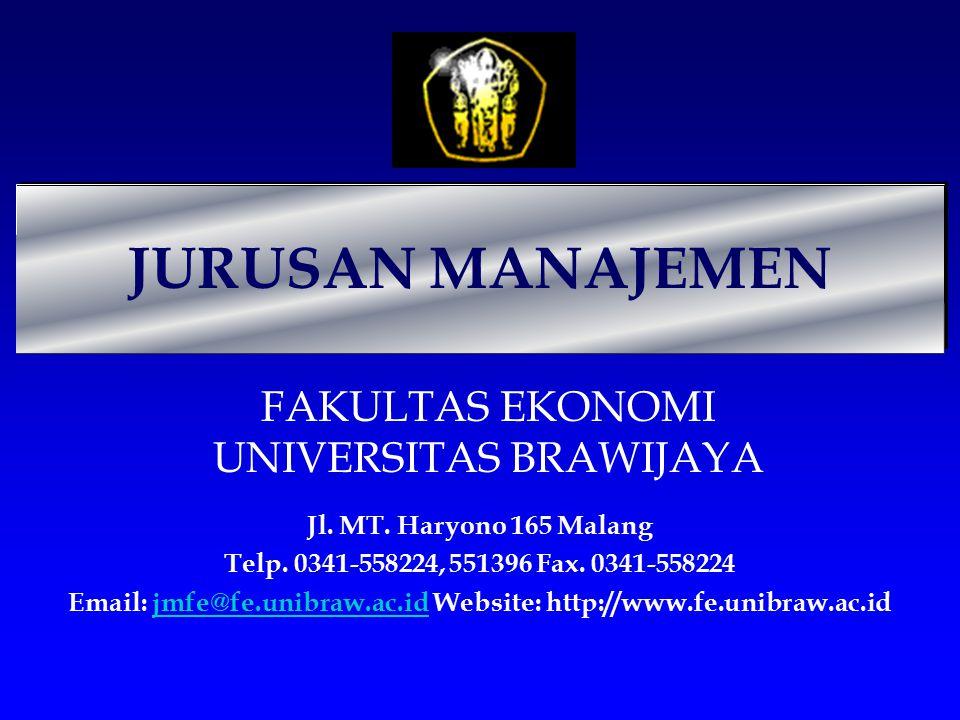 JURUSAN MANAJEMEN FAKULTAS EKONOMI UNIVERSITAS BRAWIJAYA Jl. MT. Haryono 165 Malang Telp. 0341-558224, 551396 Fax. 0341-558224 Email: jmfe@fe.unibraw.