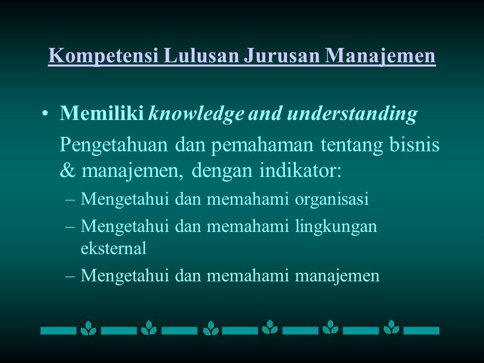 Kompetensi Lulusan Jurusan Manajemen Memiliki knowledge and understanding Pengetahuan dan pemahaman tentang bisnis & manajemen, dengan indikator: –M–M