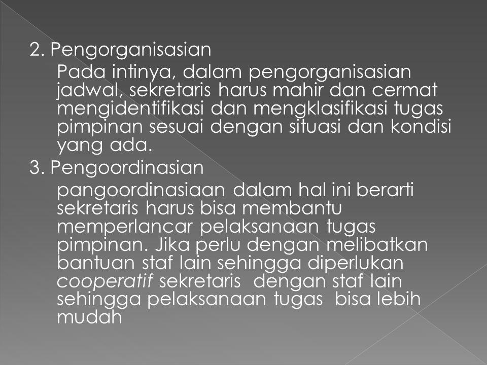 2. Pengorganisasian Pada intinya, dalam pengorganisasian jadwal, sekretaris harus mahir dan cermat mengidentifikasi dan mengklasifikasi tugas pimpinan