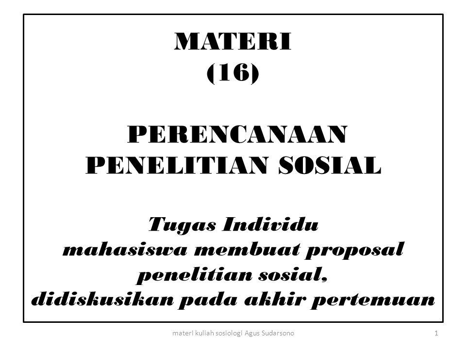 Tugas Individu : kedua Materi : Perencanaan Penelitian Sosial.