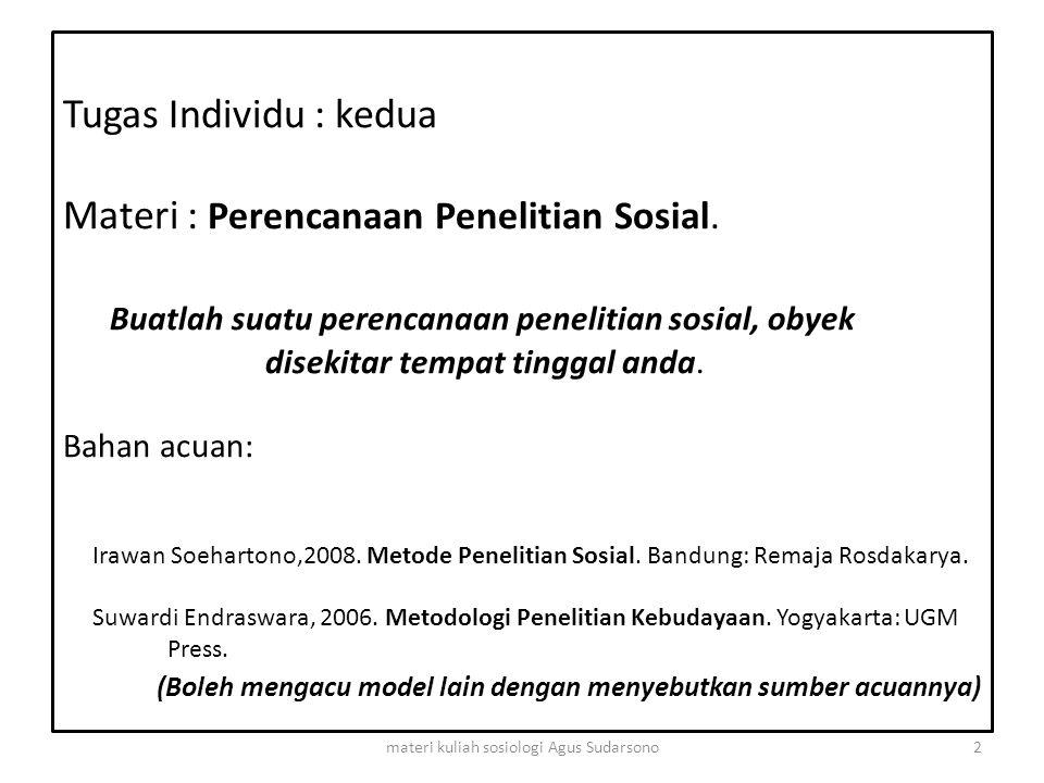 Tugas Individu : kedua Materi : Perencanaan Penelitian Sosial. Buatlah suatu perencanaan penelitian sosial, obyek disekitar tempat tinggal anda. Bahan