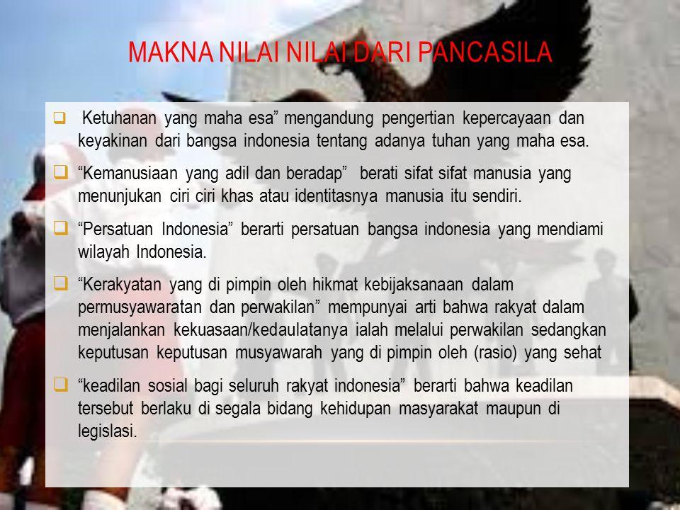"MAKNA NILAI NILAI DARI PANCASILA  "" Ketuhanan yang maha esa"" mengandung pengertian kepercayaan dan keyakinan dari bangsa indonesia tentang adanya tuh"