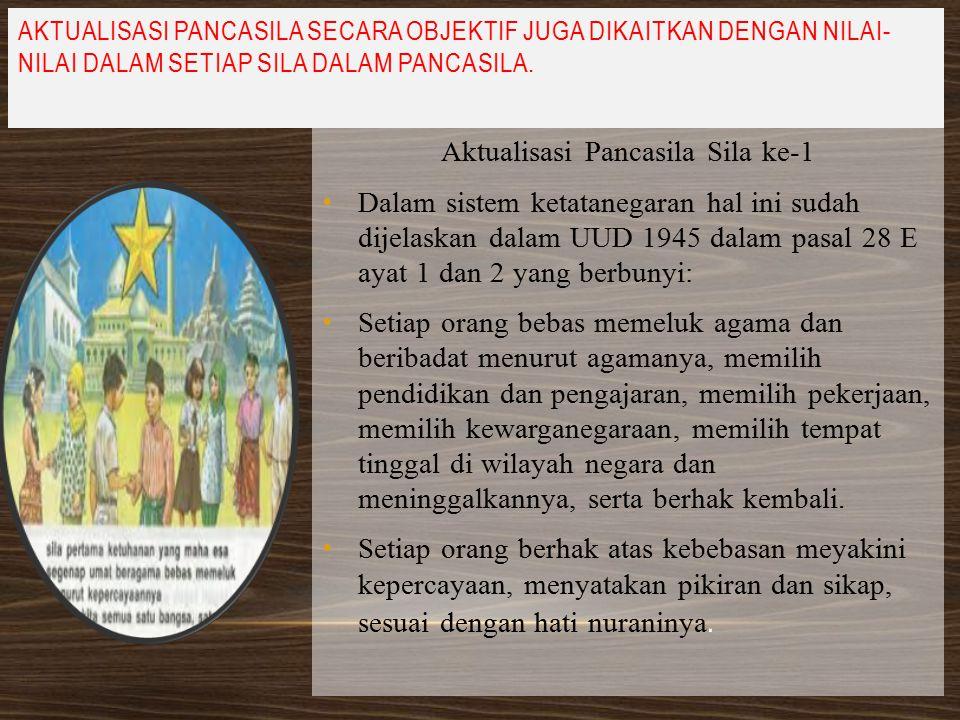 Aktualisasi Pancasila Sila ke-2 Sila ke-2 dalam pancasila menjelaskan tentang menjunjung tinggi hak assasi manusia dan menghargai atas kesamaan hak..