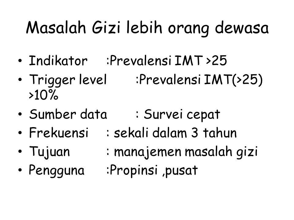 Masalah Gizi lebih orang dewasa Indikator:Prevalensi IMT >25 Trigger level:Prevalensi IMT(>25) >10% Sumber data: Survei cepat Frekuensi: sekali dalam 3 tahun Tujuan : manajemen masalah gizi Pengguna:Propinsi,pusat