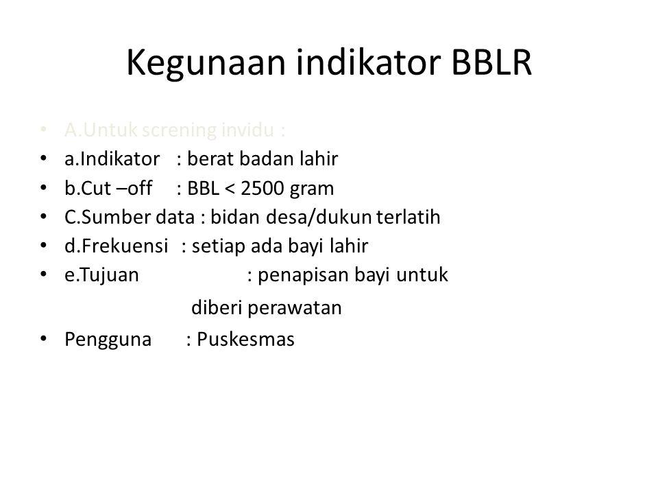 Kegunaan indikator BBLR A.Untuk screning invidu : a.Indikator : berat badan lahir b.Cut –off : BBL < 2500 gram C.Sumber data : bidan desa/dukun terlat