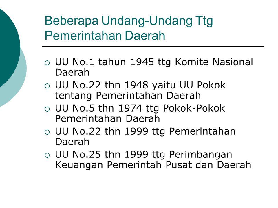 Beberapa Undang-Undang Ttg Pemerintahan Daerah  UU No.32 thn 2004 ttg Pemerintahan Daerah  UU No.33 thn 2004 ttg Perimbangan Keuangan Antara Pemerintah Pusat dan Daerah