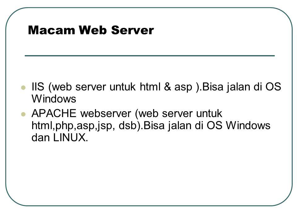 IIS (web server untuk html & asp ).Bisa jalan di OS Windows APACHE webserver (web server untuk html,php,asp,jsp, dsb).Bisa jalan di OS Windows dan LIN