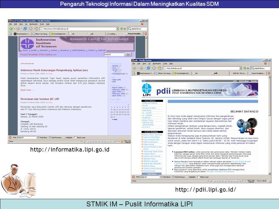 Pengaruh Teknologi Informasi Dalam Meningkatkan Kualitas SDM STMIK IM – Puslit Informatika LIPI http://informatika.lipi.go.id http://pdii.lipi.go.id/