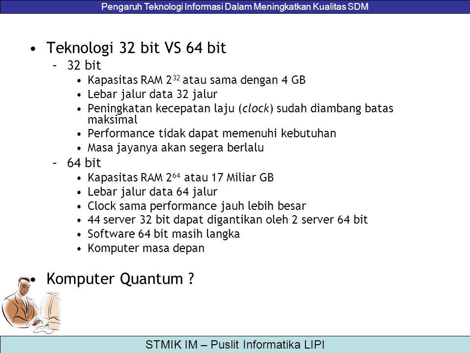 Pengaruh Teknologi Informasi Dalam Meningkatkan Kualitas SDM STMIK IM – Puslit Informatika LIPI Teknologi 32 bit VS 64 bit –32 bit Kapasitas RAM 2 32