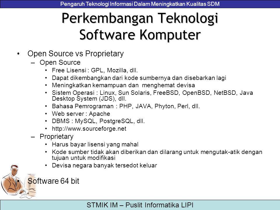 Pengaruh Teknologi Informasi Dalam Meningkatkan Kualitas SDM STMIK IM – Puslit Informatika LIPI Perkembangan Teknologi Software Komputer Open Source v