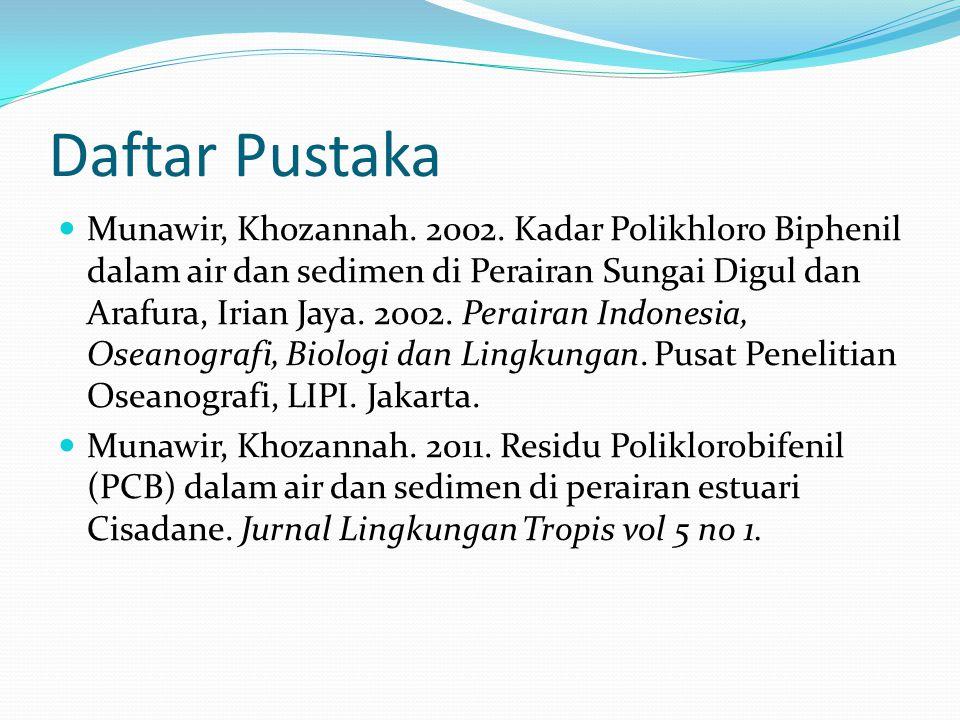 Daftar Pustaka Munawir, Khozannah. 2002. Kadar Polikhloro Biphenil dalam air dan sedimen di Perairan Sungai Digul dan Arafura, Irian Jaya. 2002. Perai