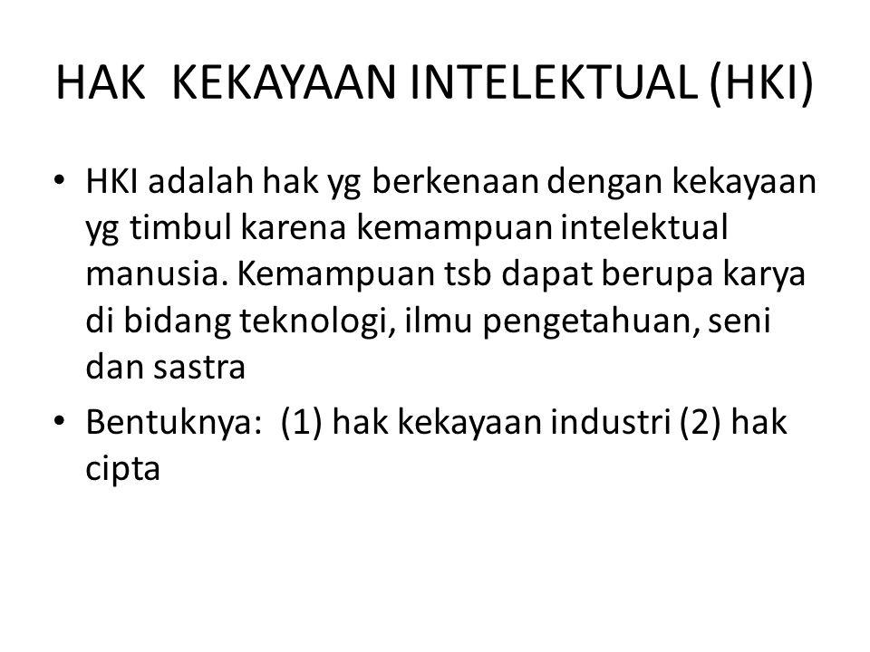 HAK KEKAYAAN INTELEKTUAL (HKI) HKI adalah hak yg berkenaan dengan kekayaan yg timbul karena kemampuan intelektual manusia. Kemampuan tsb dapat berupa