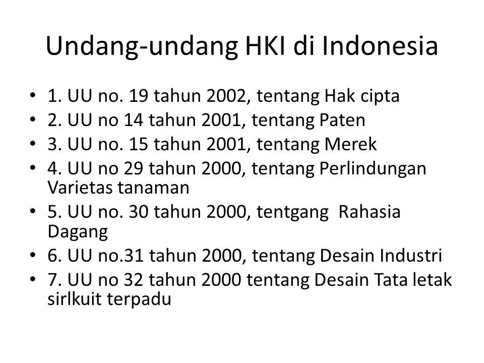 Undang-undang HKI di Indonesia 1. UU no. 19 tahun 2002, tentang Hak cipta 2. UU no 14 tahun 2001, tentang Paten 3. UU no. 15 tahun 2001, tentang Merek