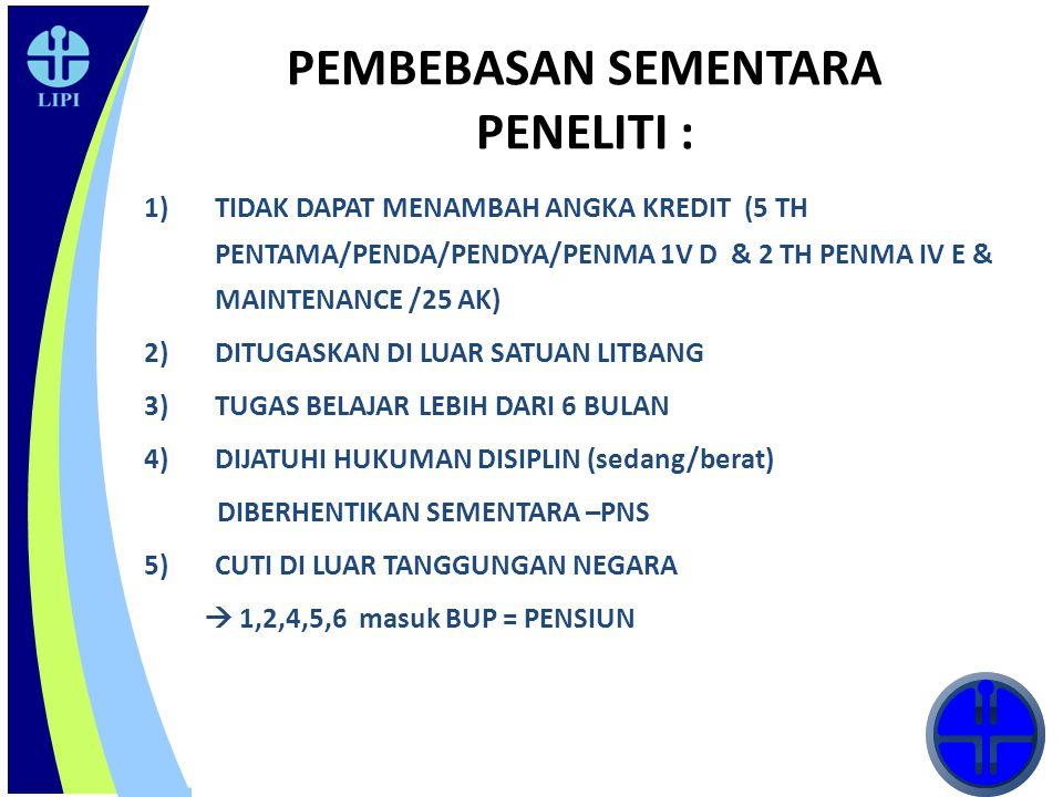 16 PEMBEBASAN SEMENTARA PENELITI : 1)TIDAK DAPAT MENAMBAH ANGKA KREDIT (5 TH PENTAMA/PENDA/PENDYA/PENMA 1V D & 2 TH PENMA IV E & MAINTENANCE /25 AK) 2