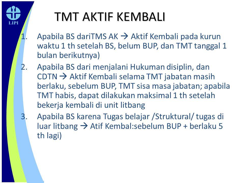 TMT AKTIF KEMBALI 1.Apabila BS dariTMS AK  Aktif Kembali pada kurun waktu 1 th setelah BS, belum BUP, dan TMT tanggal 1 bulan berikutnya) 2.Apabila B