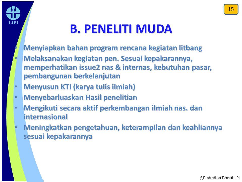 B. PENELITI MUDA Menyiapkan bahan program rencana kegiatan litbang Menyiapkan bahan program rencana kegiatan litbang Melaksanakan kegiatan pen. Sesuai